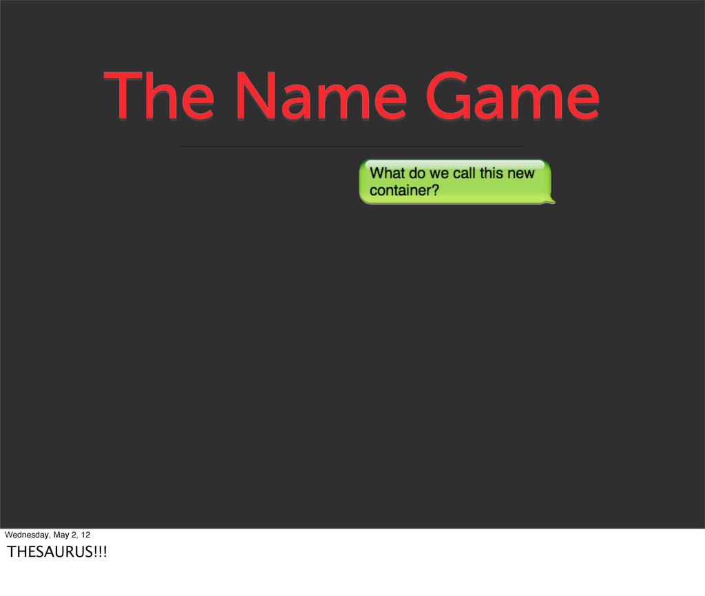 The Name Game Wednesday, May 2, 12 THESAURUS!!!