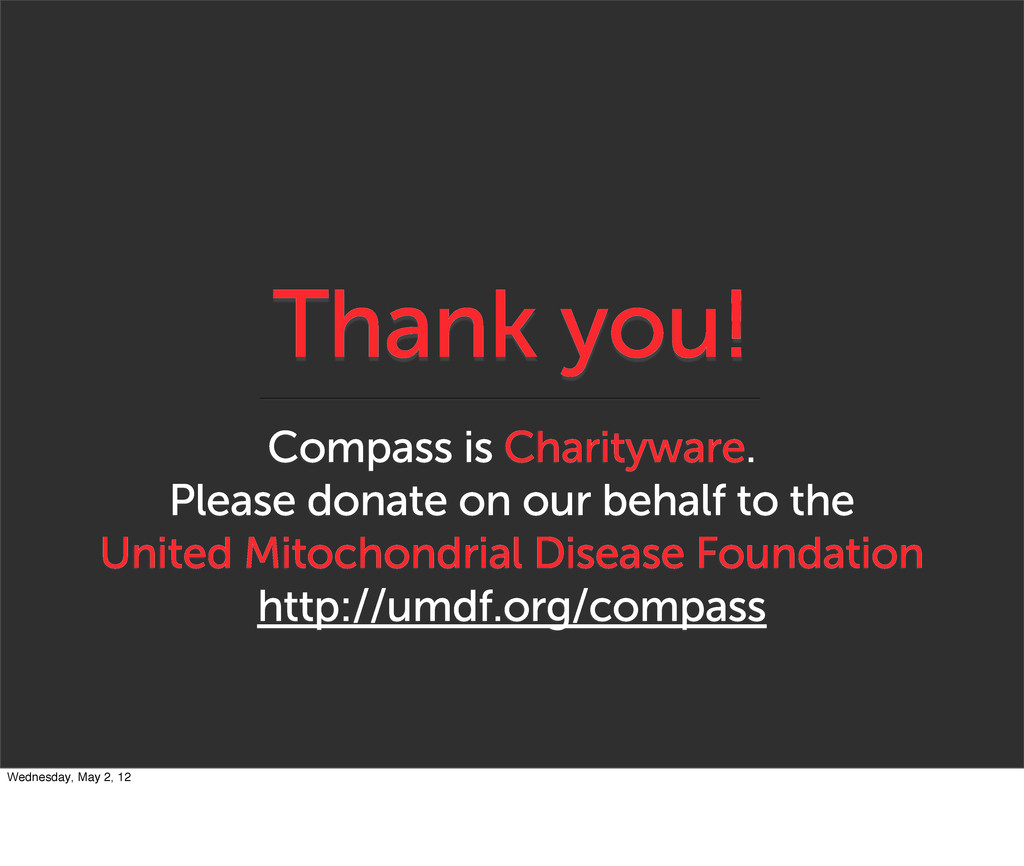 Thank you! Compass is Charityware. Please donat...