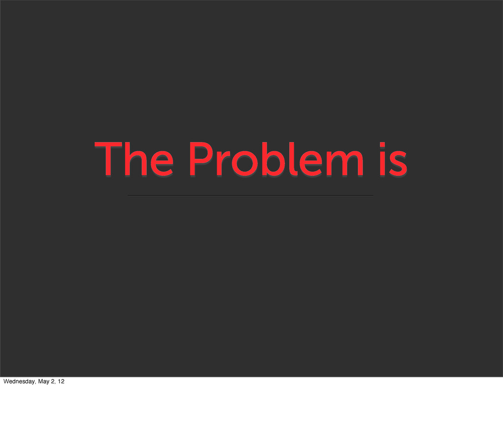 The Problem is Wednesday, May 2, 12