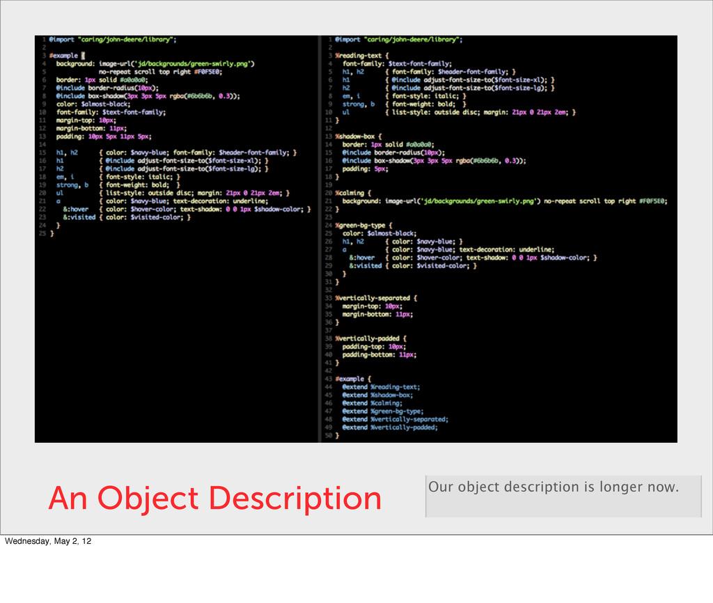 An Object Description Our object description is...