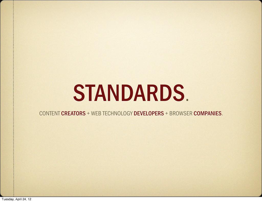 STANDARDS. CONTENT CREATORS + WEB TECHNOLOGY DE...