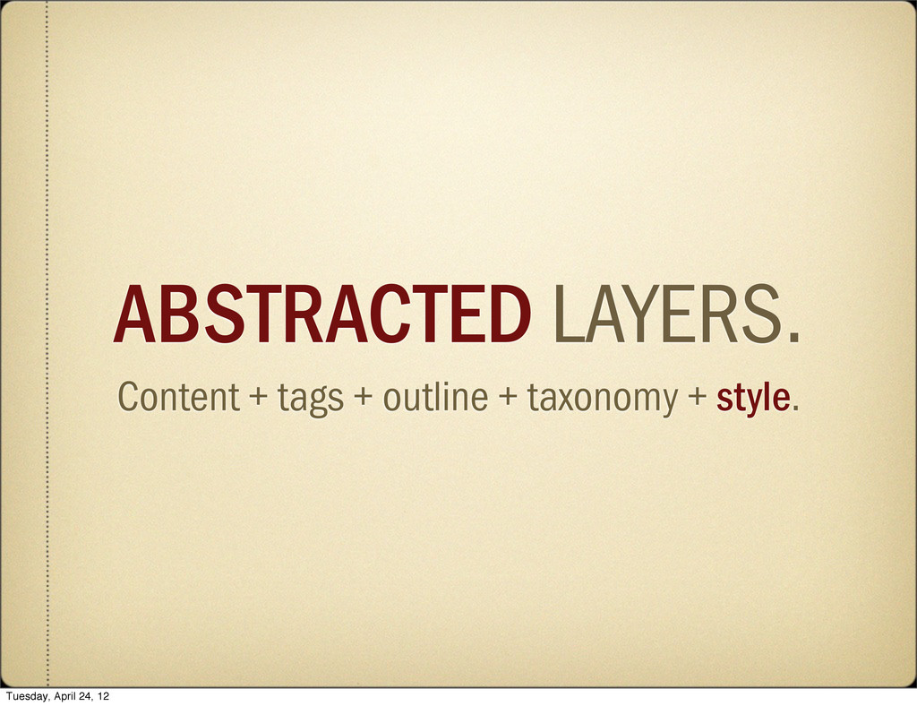 ABSTRACTED LAYERS. Content + tags + outline + t...