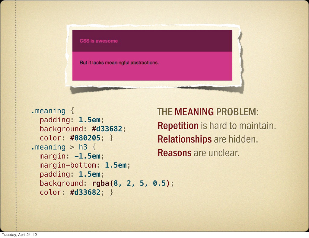 THE MEANING PROBLEM: Repetition is hard to main...