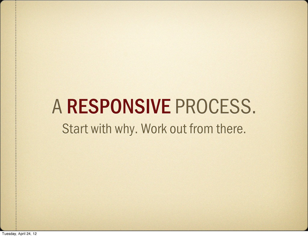 A RESPONSIVE PROCESS. Start with why. Work out ...