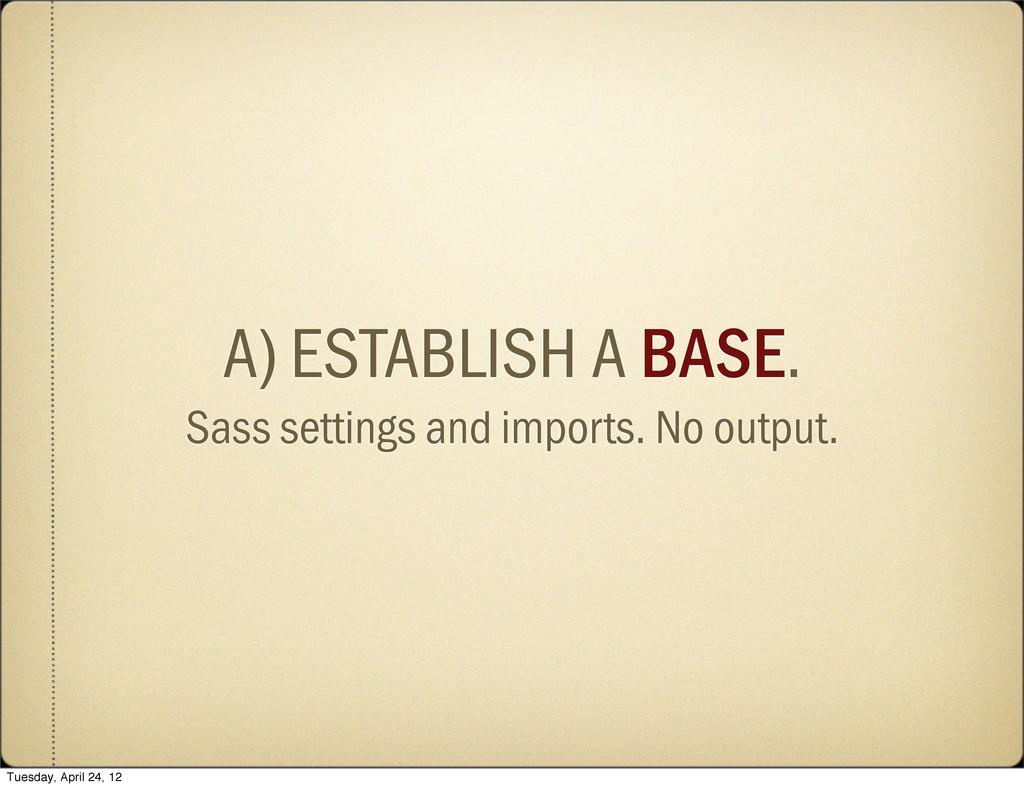 A) ESTABLISH A BASE. Sass settings and imports....