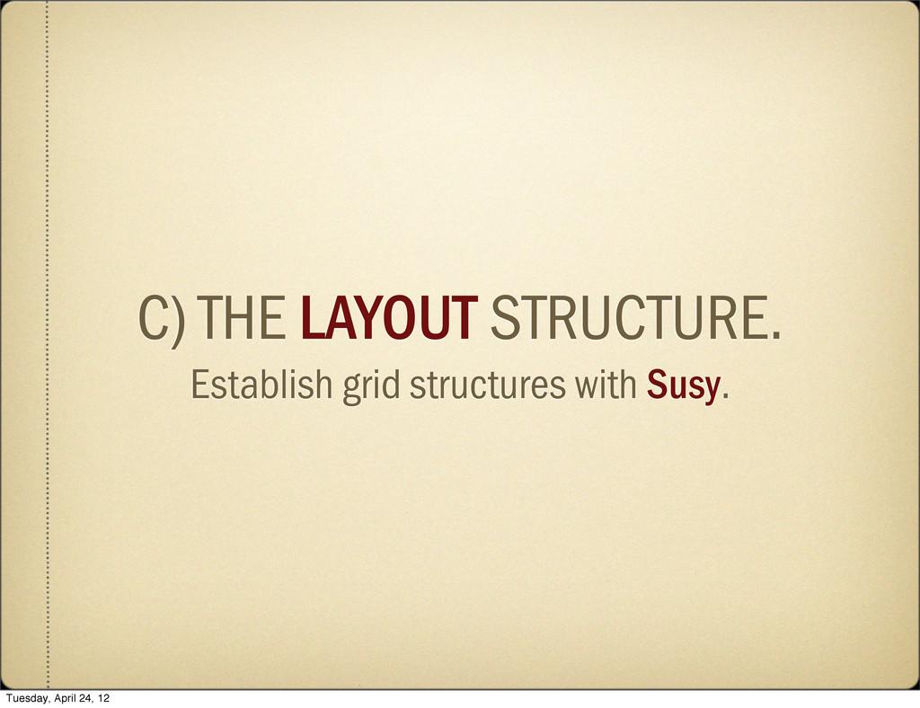 C) THE LAYOUT STRUCTURE. Establish grid structu...