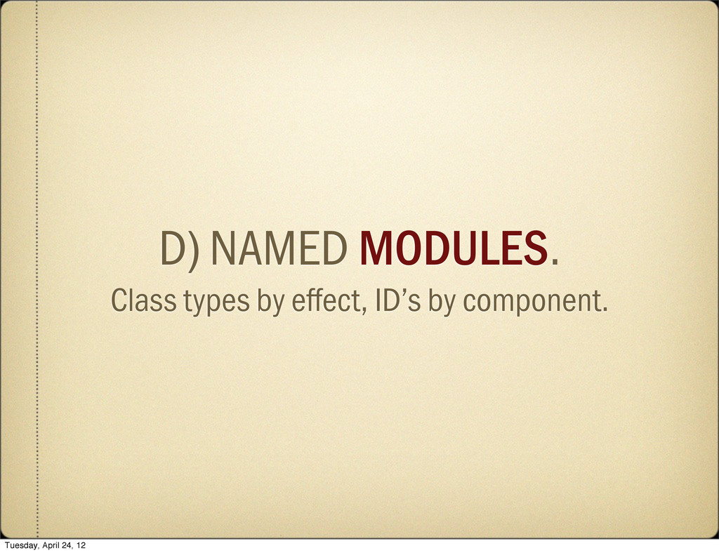 D) NAMED MODULES. Class types by effect, ID's b...