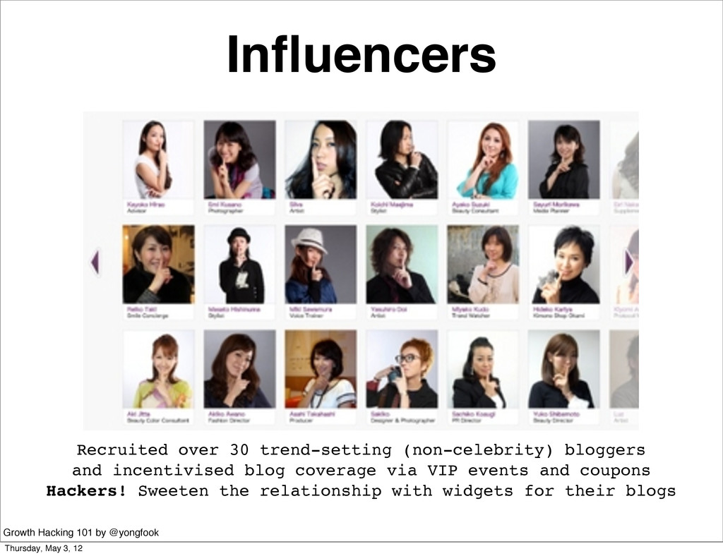 Influencers Recruited over 30 trend-setting (non...