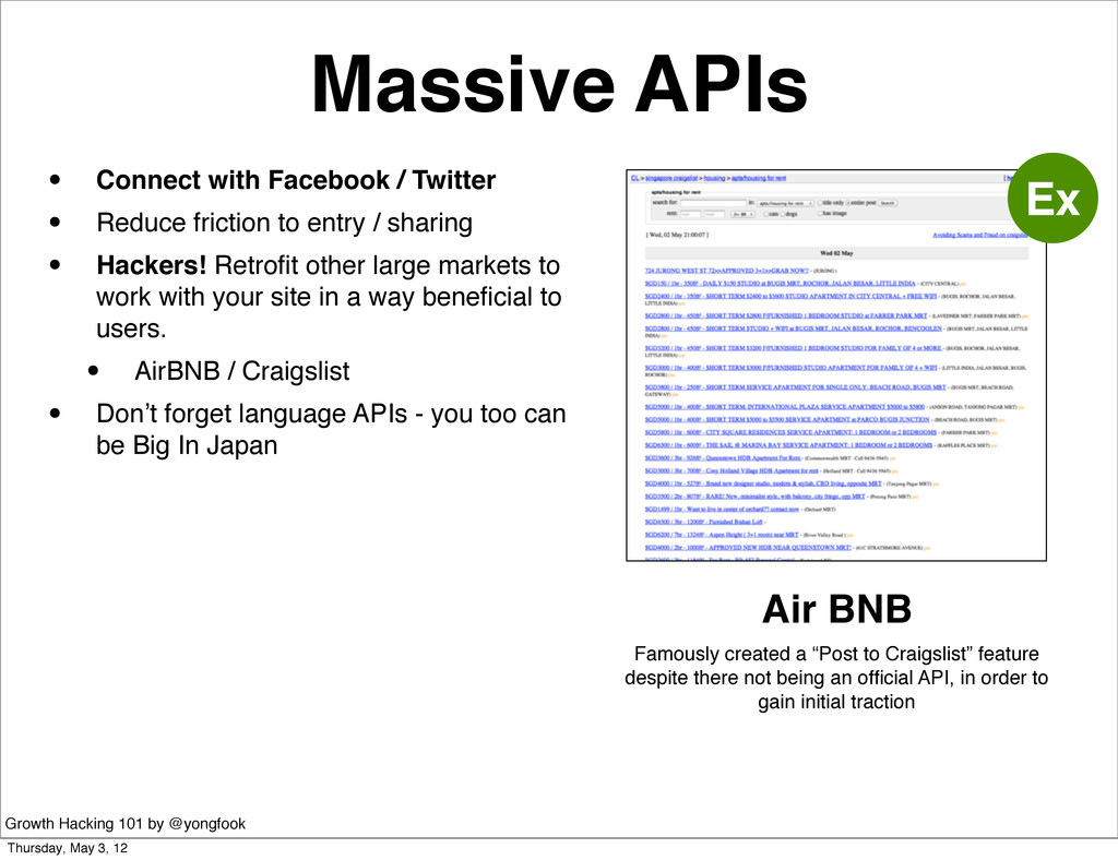 Massive APIs • Connect with Facebook / Twitter ...