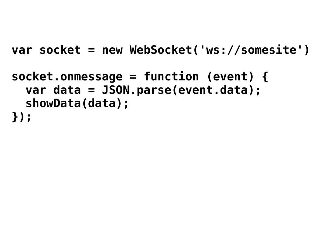 var socket = new WebSocket('ws://somesite'); so...