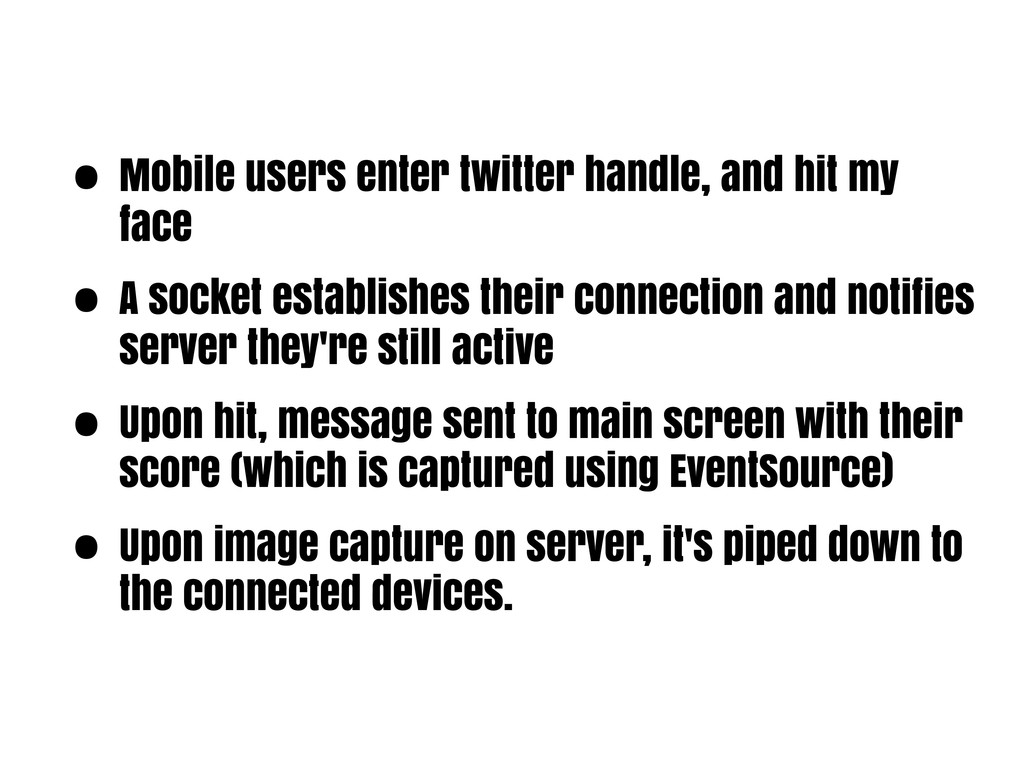 • Mobile users enter twitter handle, and hit my...
