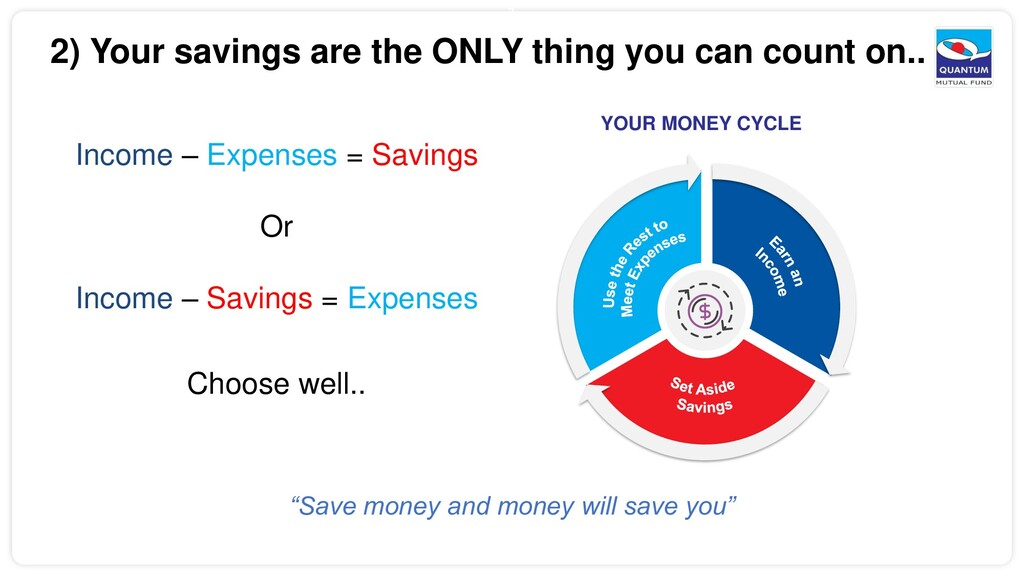 3 2) Your savings are the ONLY thing you can co...