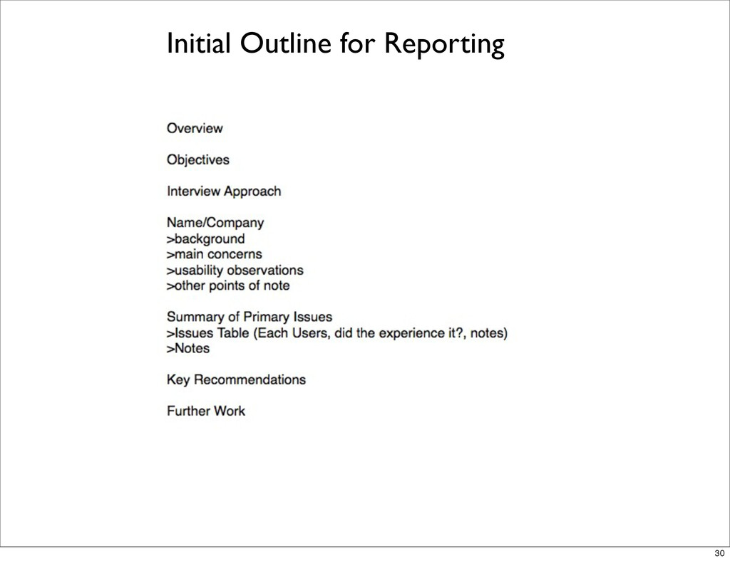 Initial Outline for Reporting 30