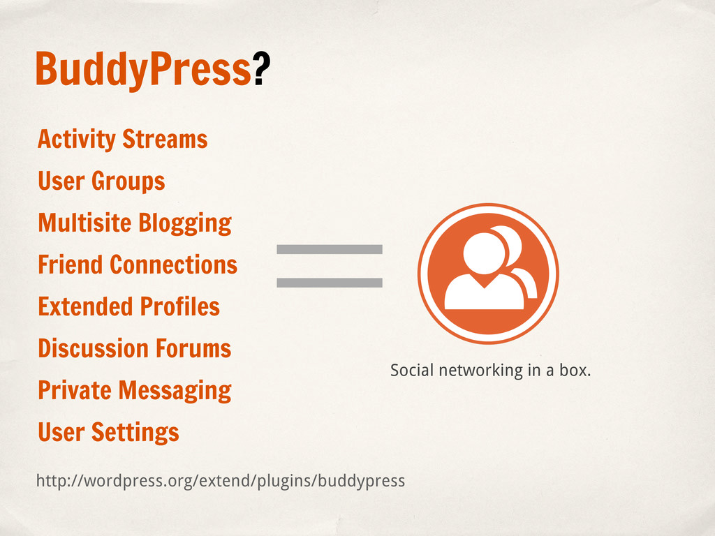 BuddyPress? Social networking in a box. Activit...