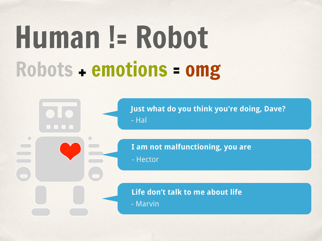 Robots + emotions = omg Just what do you think ...