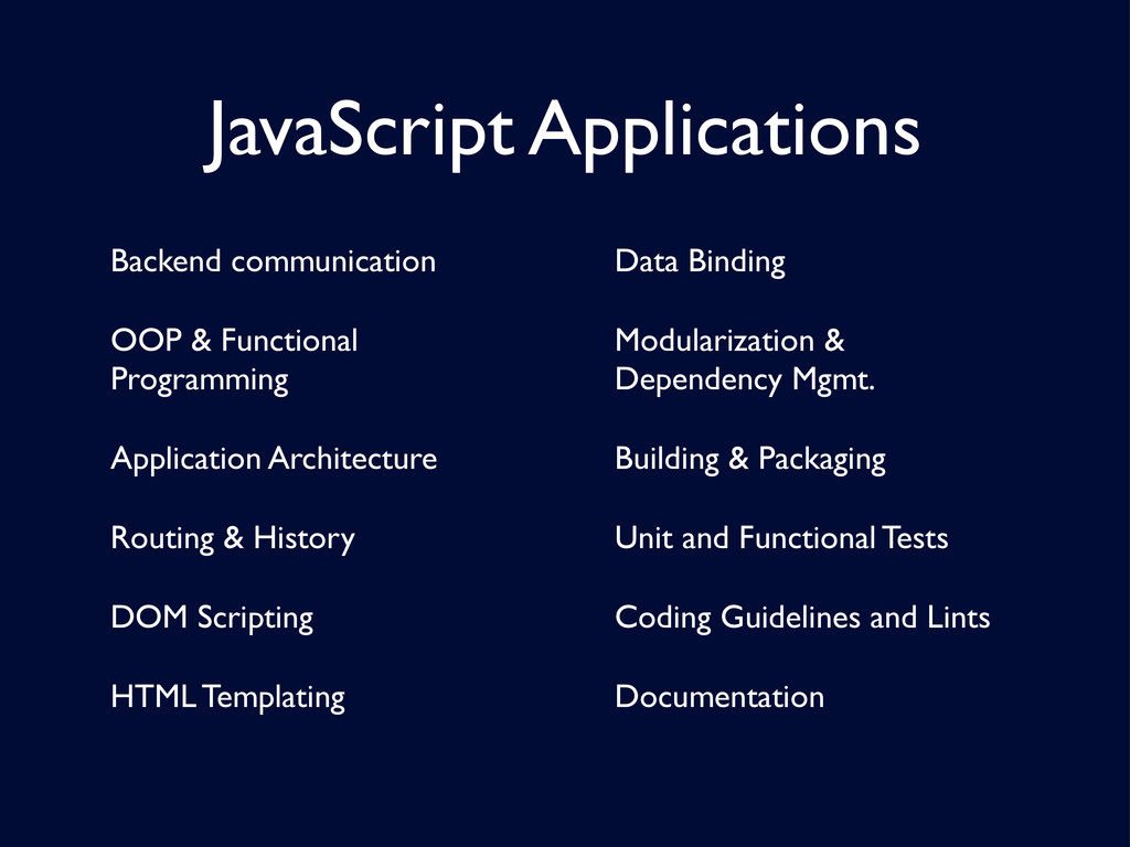 JavaScript Applications Backend communication O...