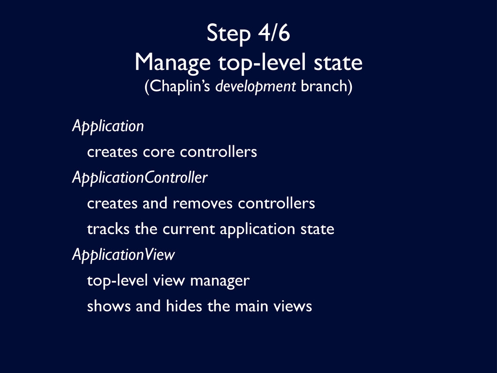Step 4/6 Manage top-level state (Chaplin's deve...