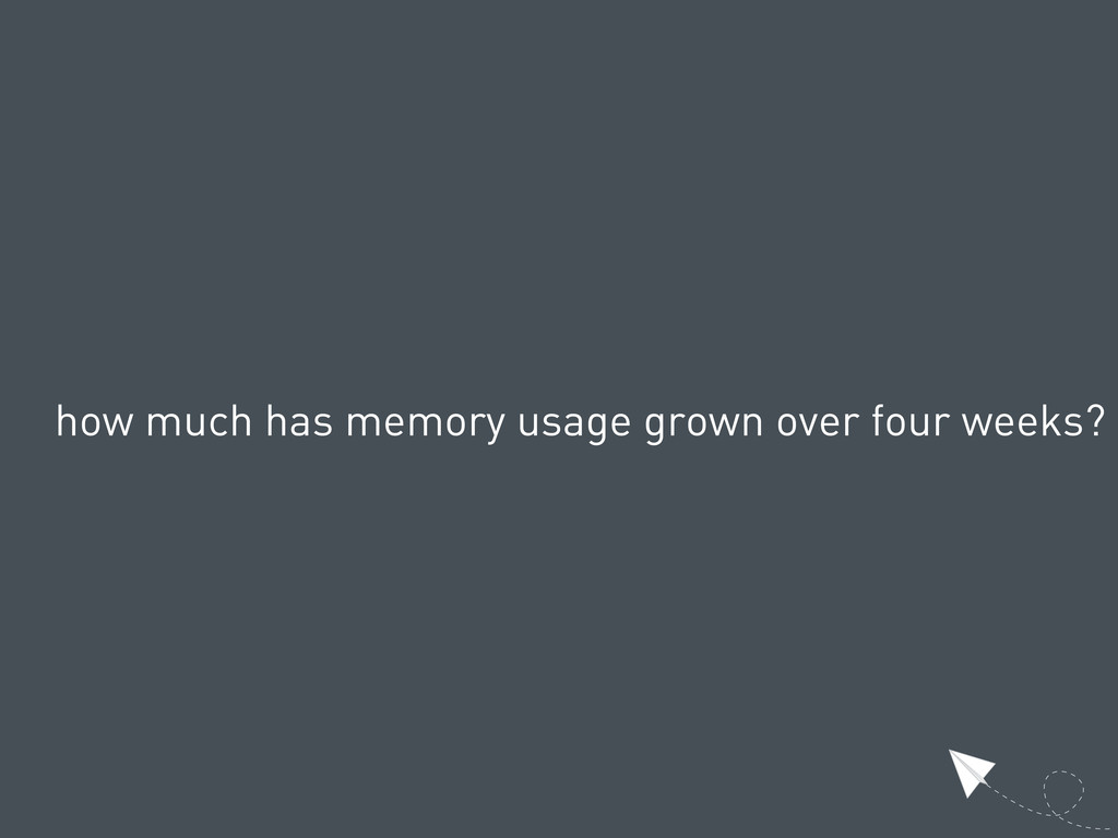 how much has memory usage grown over four weeks?