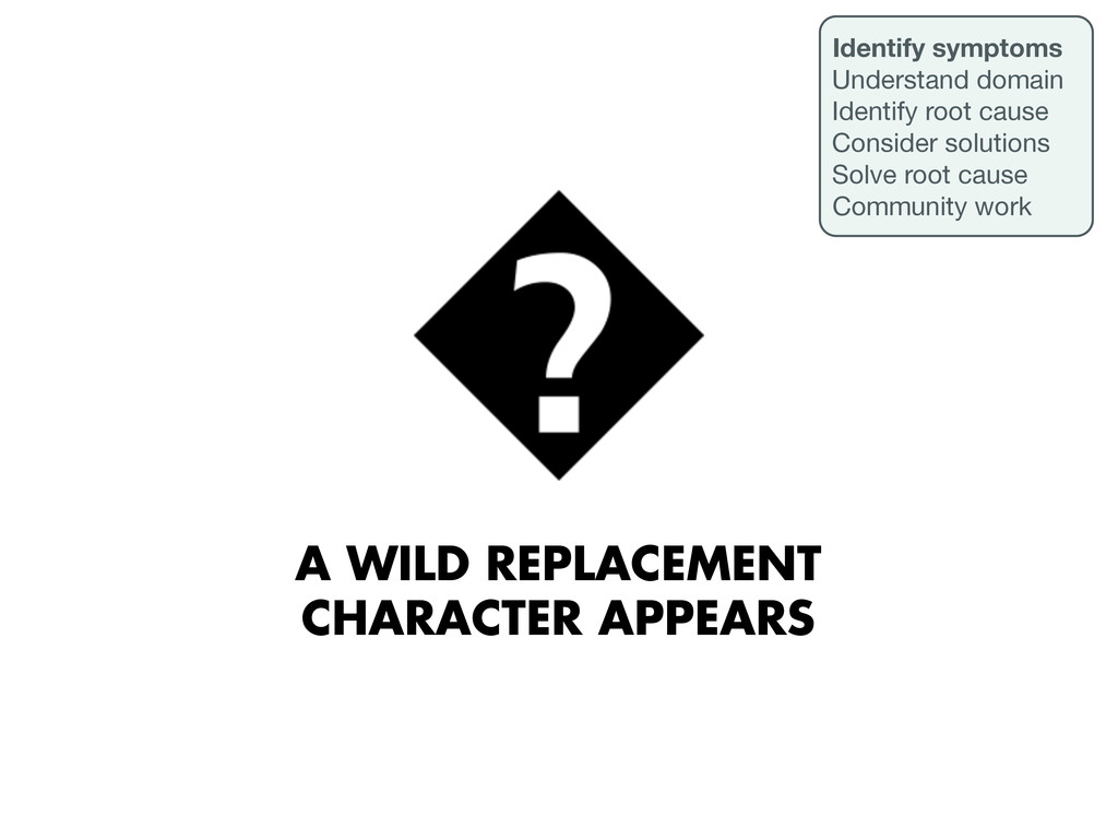 A WILD REPLACEMENT CHARACTER APPEARS Identify s...