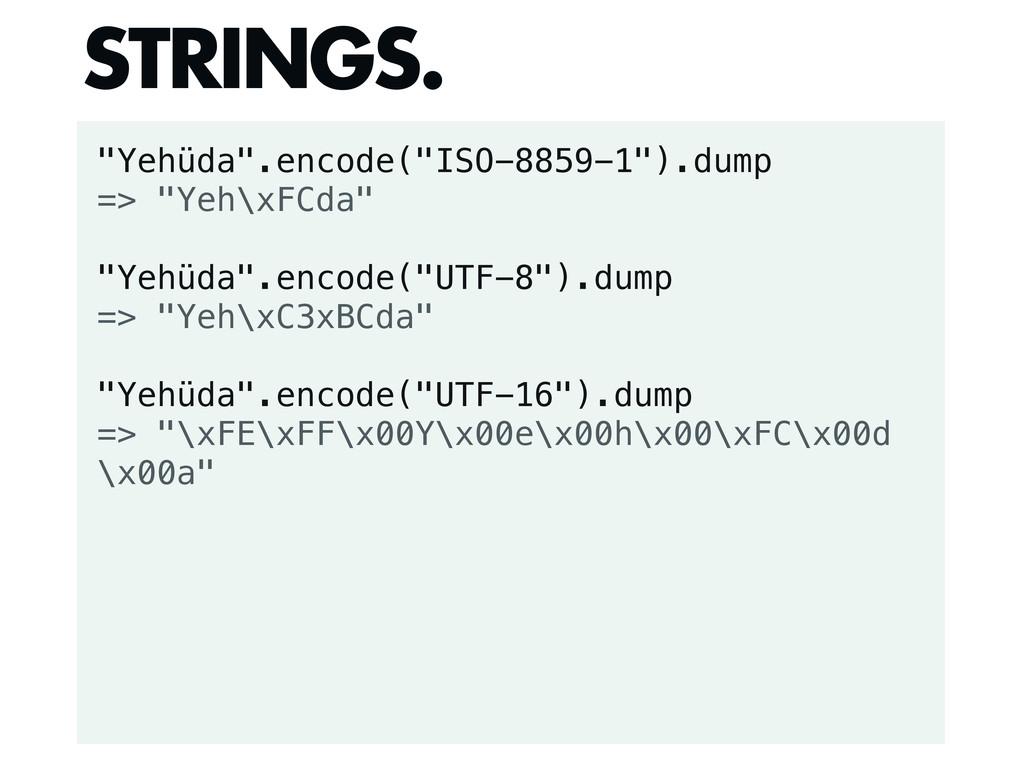 """Yehüda"".encode(""ISO-8859-1"").dump => ""Yeh\xFCd..."