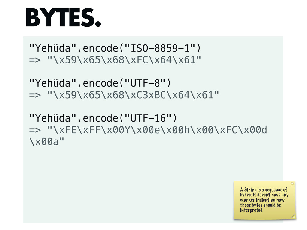 """""""Yehüda"""".encode(""""ISO-8859-1"""") => """"\x59\x65\x68\..."""