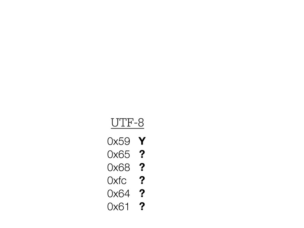 Y ? ? ? ? ? 0x59 0x65 0x68 0xfc 0x64 0x61 UTF-8