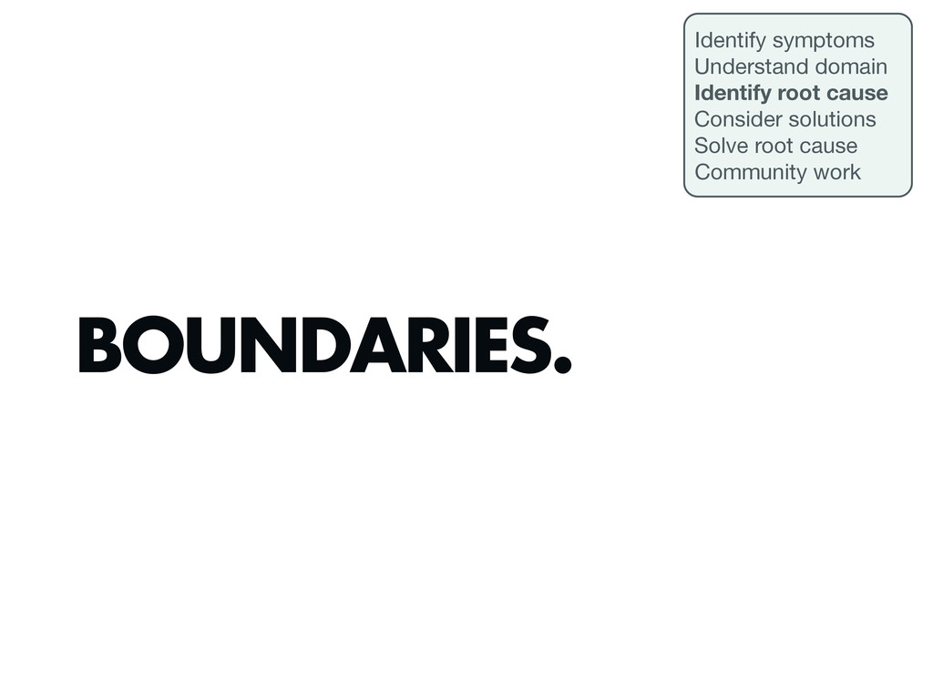 BOUNDARIES. Identify symptoms Understand domain...