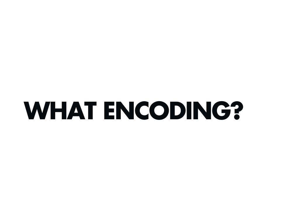 WHAT ENCODING?