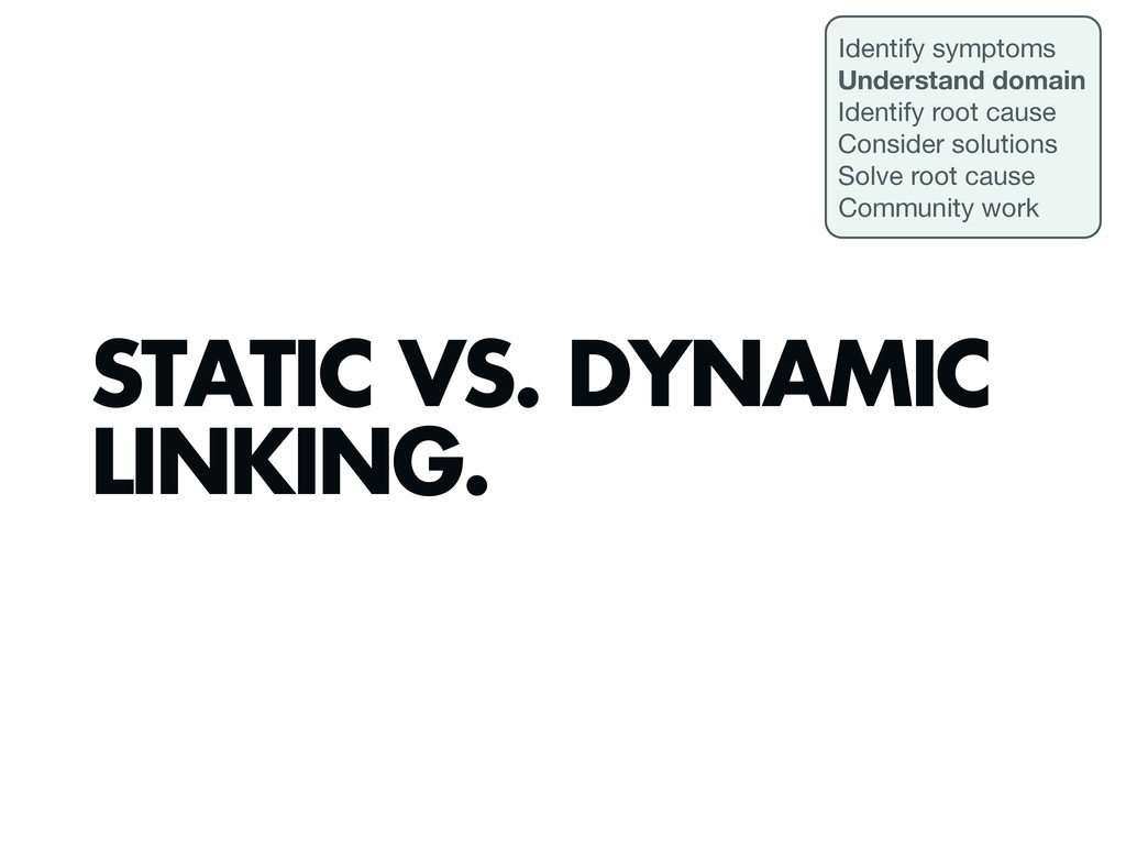 STATIC VS. DYNAMIC LINKING. Identify symptoms U...