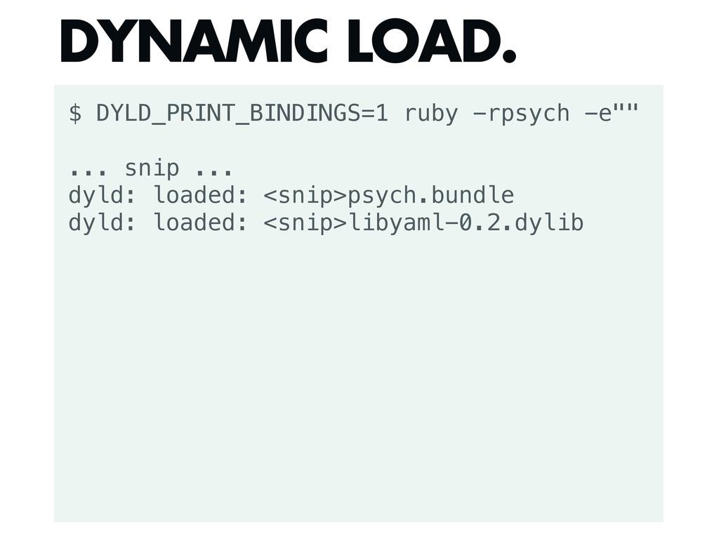 """$ DYLD_PRINT_BINDINGS=1 ruby -rpsych -e"""""""" ... s..."""