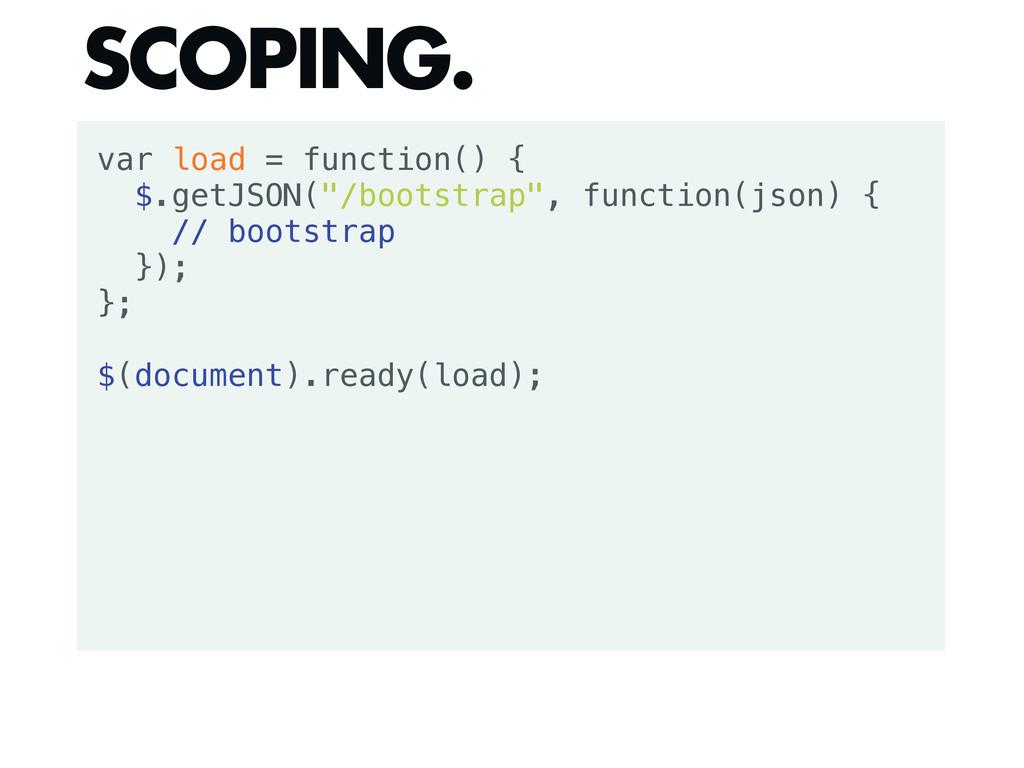 """var load = function() { $.getJSON(""""/bootstrap"""",..."""