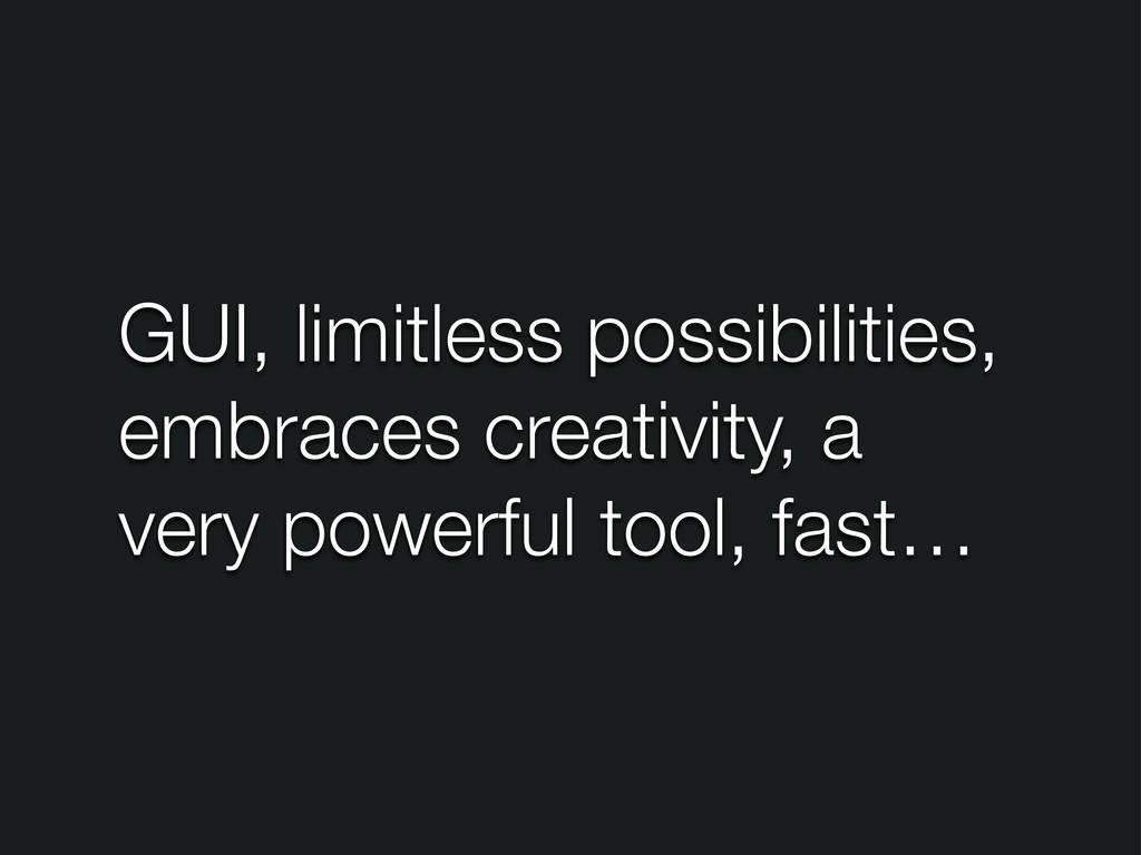 GUI, limitless possibilities, embraces creativi...