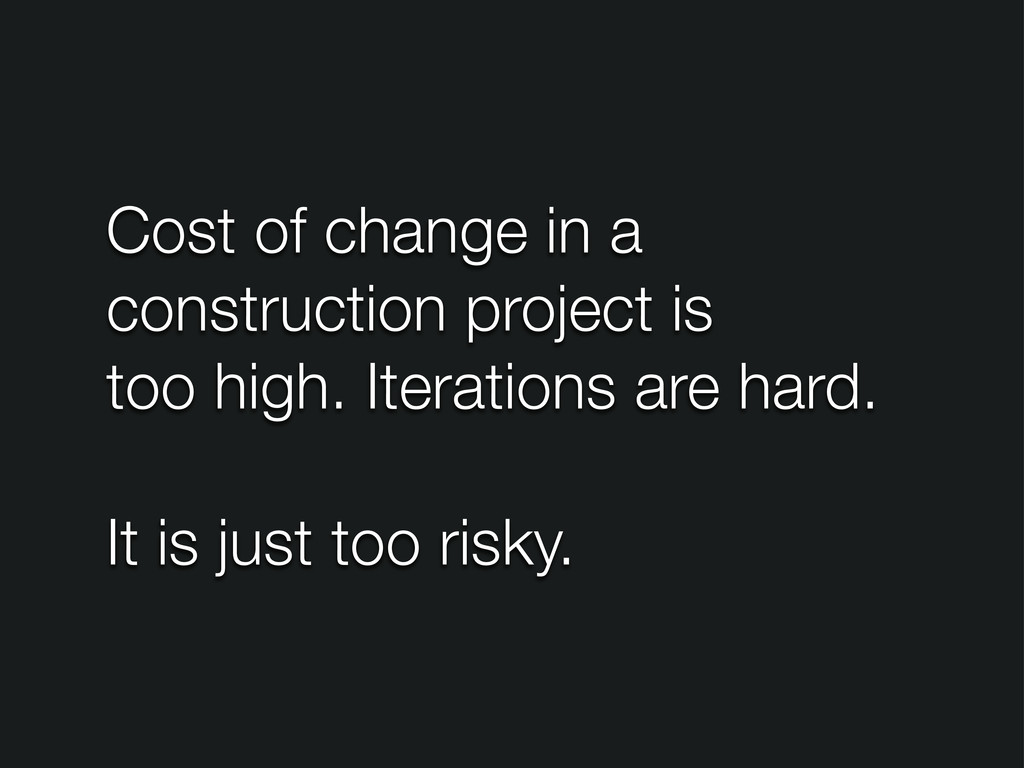 Cost of change in a construction project is too...