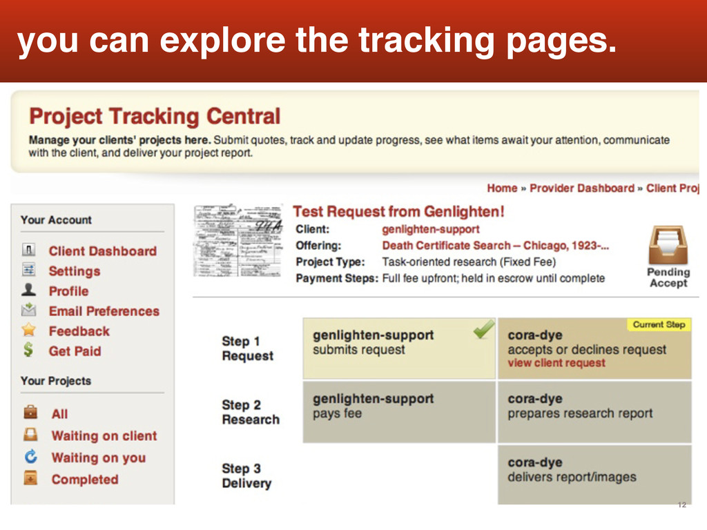 12 you can explore the tracking pages.