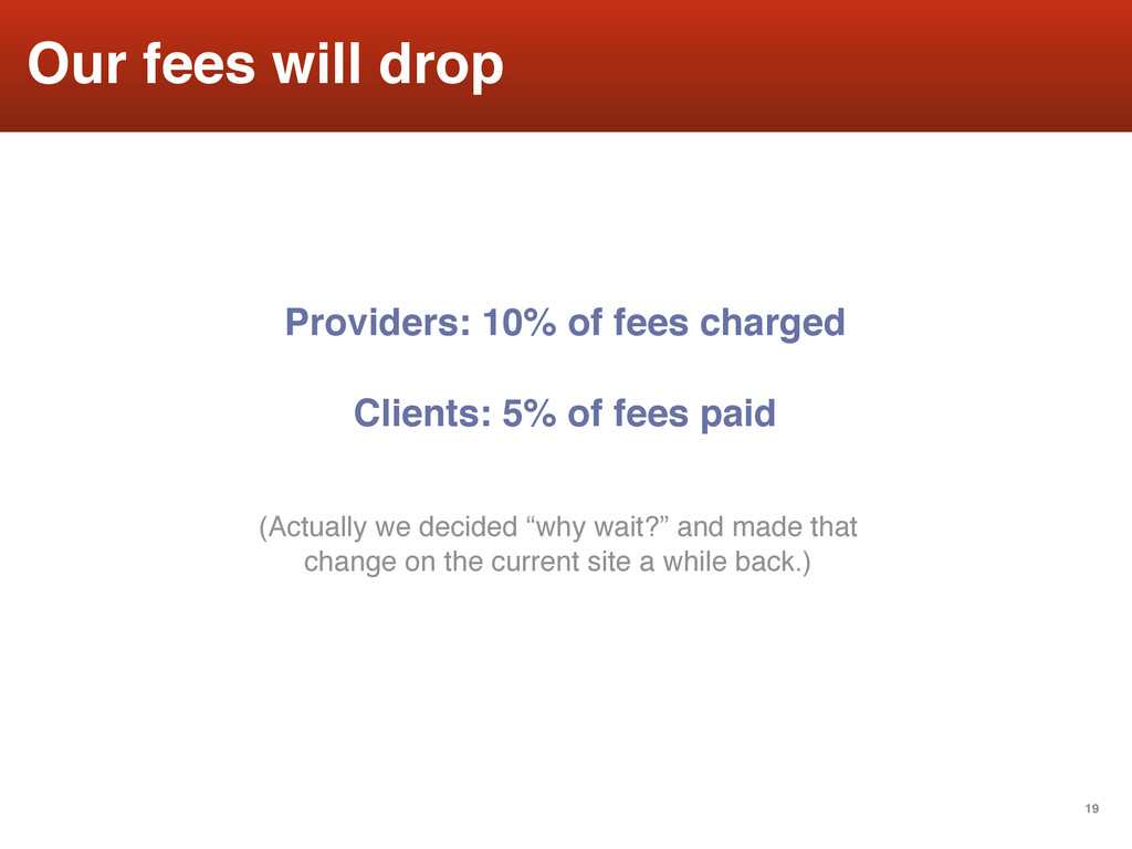 19 Our fees will drop Providers: 10% of fees ch...