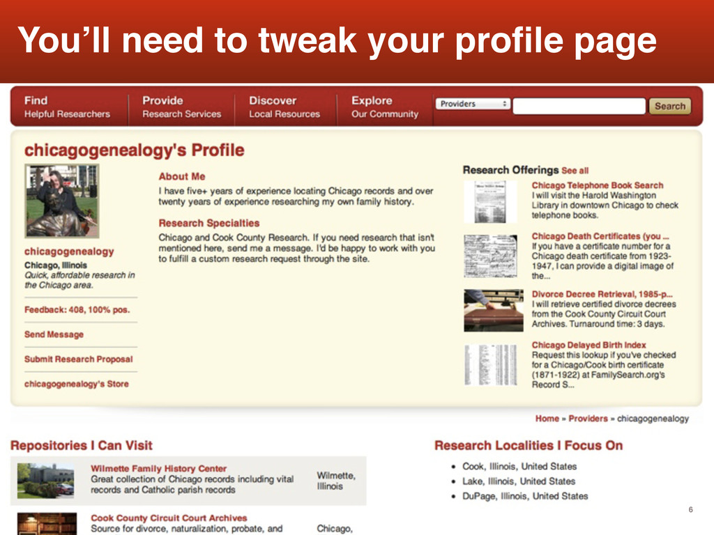 6 You'll need to tweak your profile page