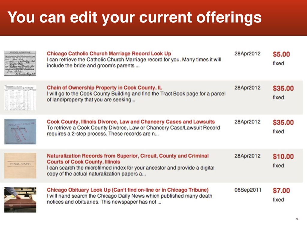 9 You can edit your current offerings