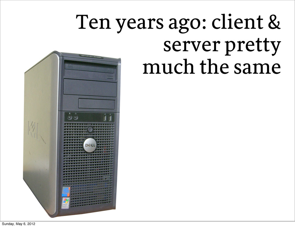 Ten years ago: client & server pretty much the ...