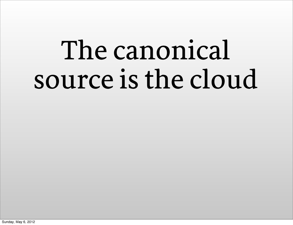 The canonical source is the cloud Sunday, May 6...