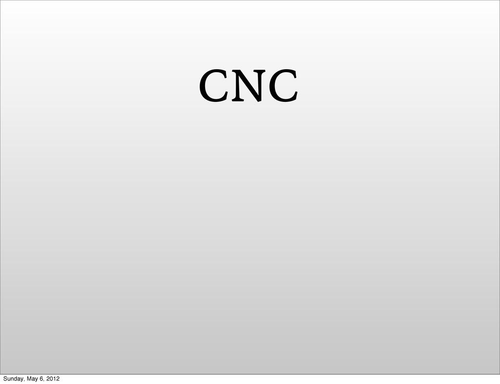 CNC Sunday, May 6, 2012