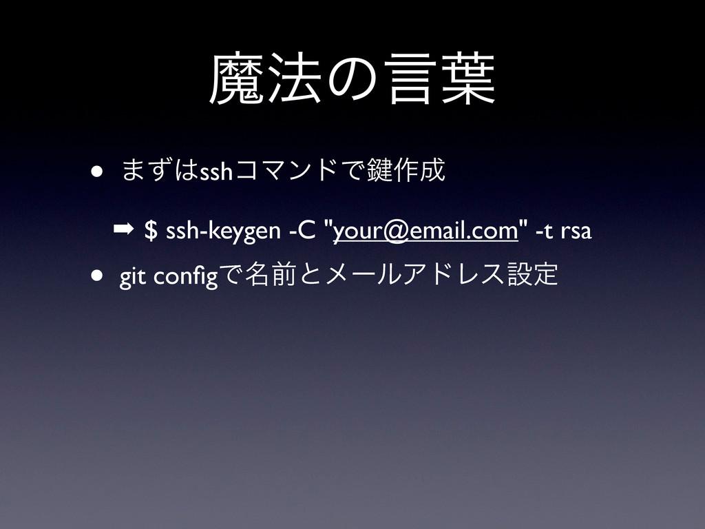 """ຐ๏ͷݴ༿ • ·ͣsshίϚϯυͰ伴࡞ ➡ $ ssh-keygen -C """"your@..."""