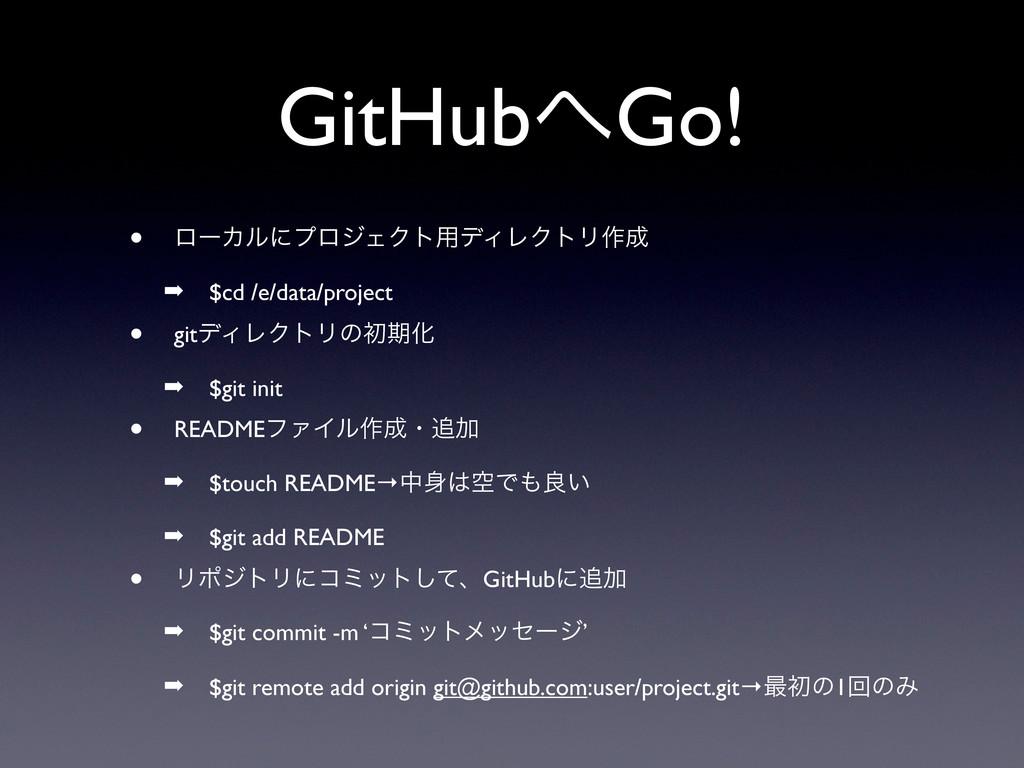 GitHubGo! • ϩʔΧϧʹϓϩδΣΫτ༻σΟϨΫτϦ࡞ ➡ $cd /e/data...