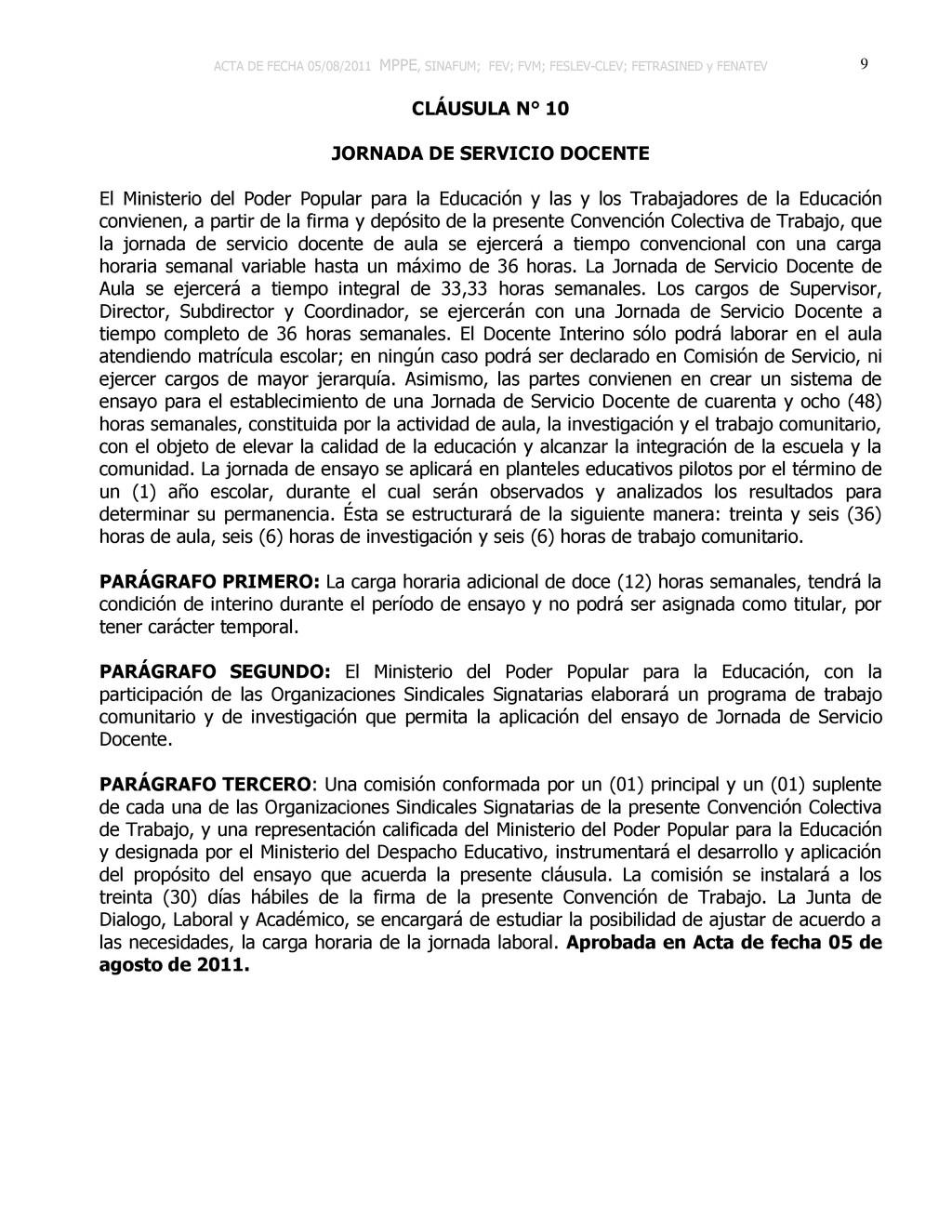 ACTA DE FECHA 05/08/2011 MPPE, SINAFUM; FEV; FV...