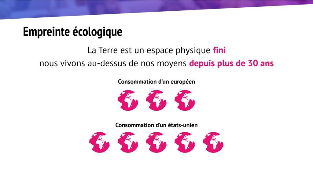 Empreinte écologique La Terre est un espace phy...