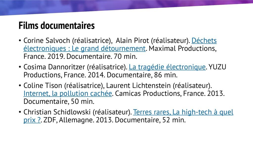 Films documentaires • Corine Salvoch (réalisatr...