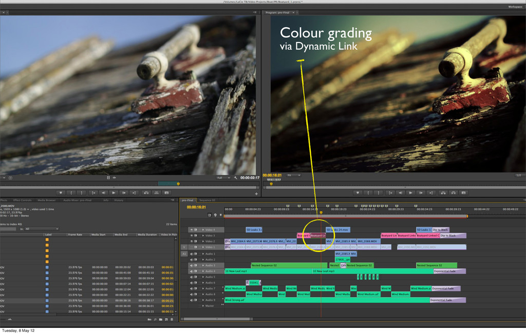 Colour grading via Dynamic Link Tuesday, 8 May ...