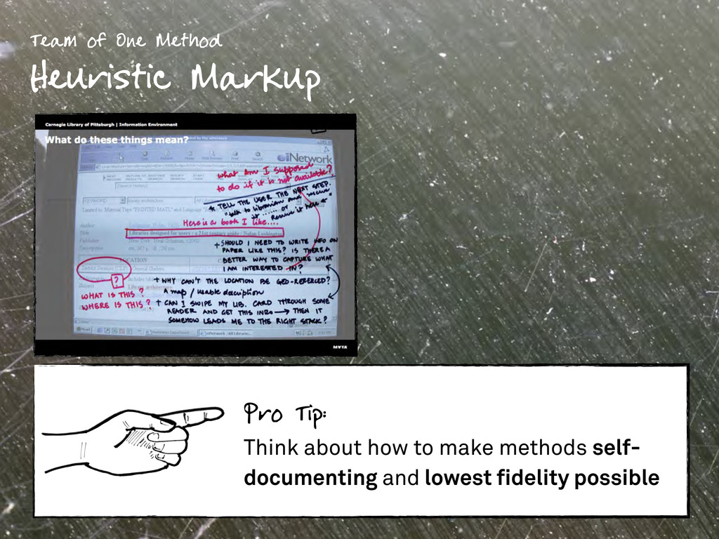 Team of One Method Heuristic Markup Pro Tip: Th...
