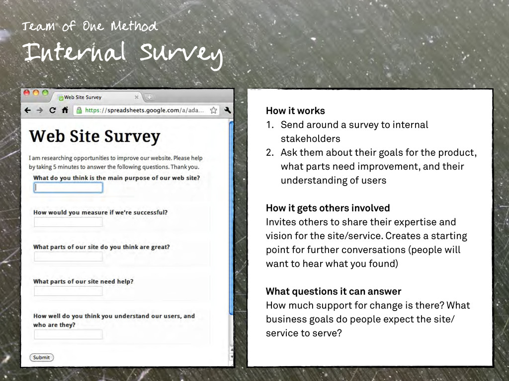 How it works 1. Send around a survey to interna...