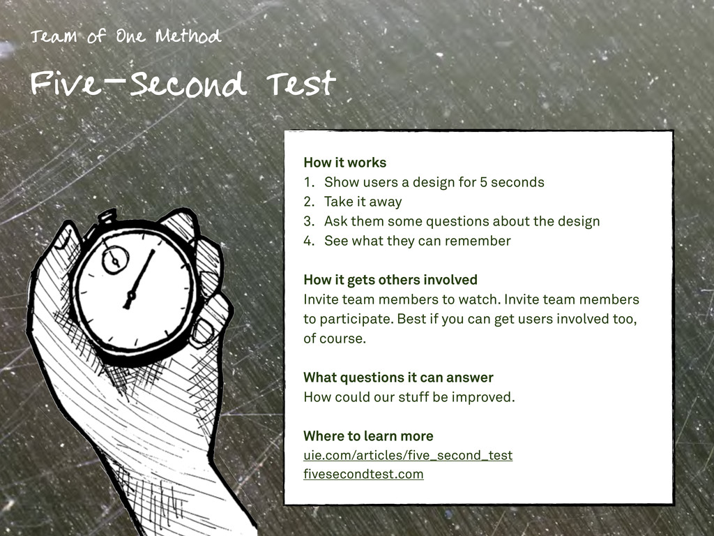 Team of One Method Five-Second Test How it work...