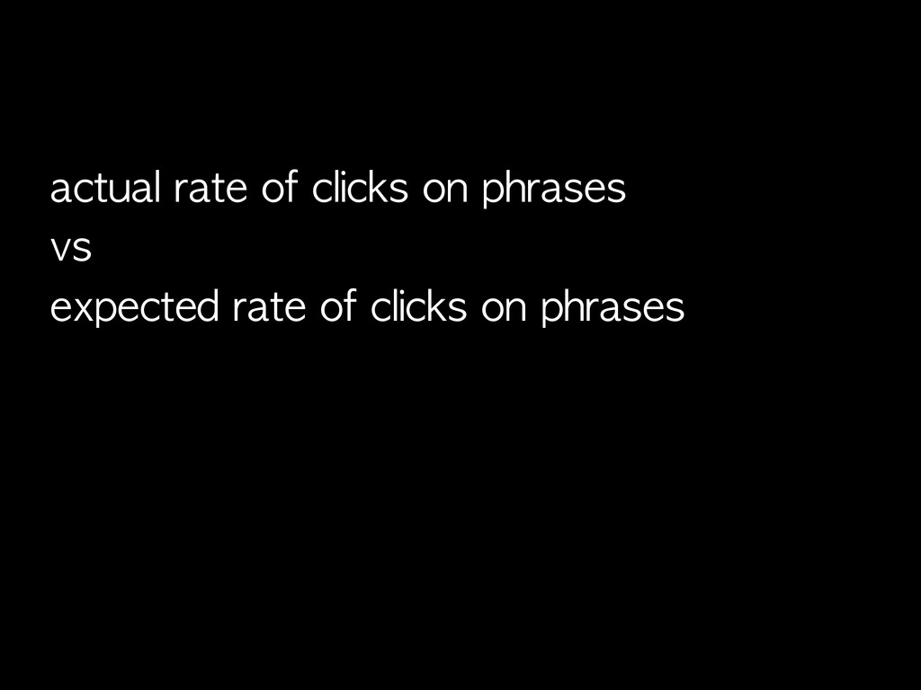 actual	 rate	 of	 clicks	 on	 phrases vs expect...
